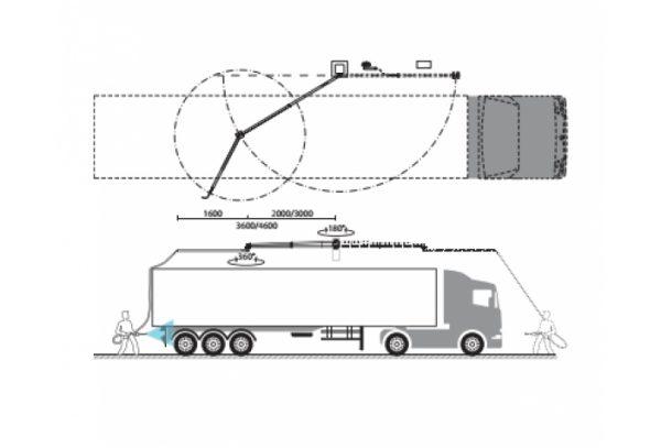 بوم فشار قوی دیواری برای شستشوی وسایل نقلیه سنگین طراحی شده است